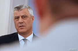 Kosovo's President Hashim Thaci speaks during an interview with Reuters in his office in Pristina, Kosovo, Feb. 13, 2018.