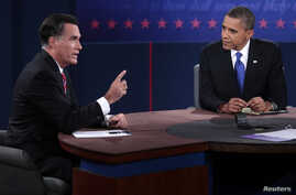 U.S. Republican presidential nominee Mitt Romney makes a point as U.S. President Barack Obama listens during the final U.S. presidential debate in Boca Raton, Florida, October 22, 2012.