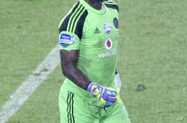 Orlando Pirates goalkeeper and captain of the national South African soccer team, Senzo Meyiwa during a match against Ajax in Soweto, Johannesburg, Oct. 25, 2014.