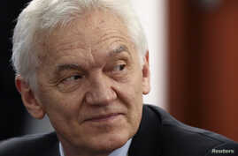 FILE - Businessman Gennady Timchenko, a target of U.S. economic sanctions, attends a session of the St. Petersburg International Economic Forum 2014 in St. Petersburg, May 24, 2014.