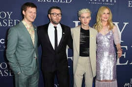 "Lucas Hedges, from left, Joel Edgerton, Troye Sivan and Nicole Kidman arrive at the Los Angeles premiere of ""Boy Erased,"" Oct. 29, 2018, at the Directors Guild of America."
