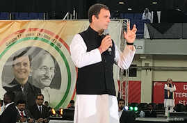 Rahul Gandhi, president of India's main opposition Congress Party, speaks at a rally ahead of October's 150th birth anniversary of Mahatma Gandhi, in Dubai, United Arab Emirates, Jan. 11, 2019.