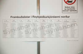 A sample of the ballot paper is displayed for information to the people voting in Reykjavik North on display in one of the polling stations during a general election in Reykjavik, Iceland, Saturday Oct. 28, 2017.