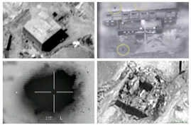 A combination image shows screen grabs taken from video material released March 21, 2018, which the Israeli military describes as an Israeli air strike on a suspected Syrian nuclear reactor site near Deir al-Zor, Sept 6, 2007.   Top row: The site bef