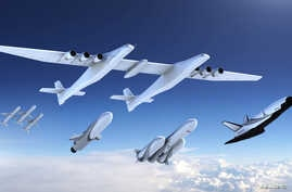 A new family of launch vehicles including air-launch system, medium-lift rockets and a reusable space cargo plane, are seen in this artist's rendering image released by Stratolaunch Systems Corp, the space company of billionaire Microsoft co-founder