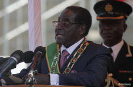 Zimbabwe's President Robert Mugabe addresses supporters during celebrations to mark the country's Defense Forces Day in the capital Harare, Aug. 13, 2013.