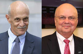 Michael Chertoff, left, the former Secretary of Homeland Security, and Michael Hayden, former director of the Central Intelligence Agency and National Security Agency, were among 40 former Republican national security advisers to signed a letter stat