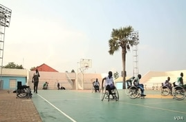 South Sudan's national wheelchair team practices on the court in Juba, July 2012.