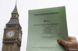The passage of the Brexit Article 50 bill, shown in front of the Houses of Parliament in London, Jan. 26, 2017, starts Great Britain's process of leaving the European Union.
