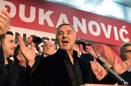 Montenegro's long-ruling Democratic Party of Socialists leader Milo Djukanovic speaks during a celebration after presidential elections in Montenegro's capital, Podgorica, April 15, 2018.