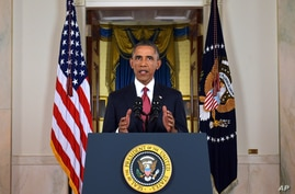 President Barack Obama addresses the nation from the Cross Hall in the White House in Washington, Sept. 10, 2014.