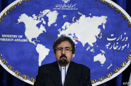FILE - Iranian Foreign Ministry spokesman, Bahram Ghasemi speaks during a press conference in Tehran, Iran, Aug. 22, 2016.