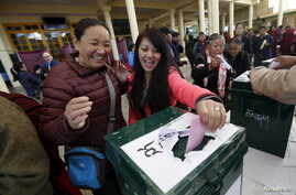 Tibetan exiles cast their votes during the elections for the Tibetan government-in-exile at a polling booth in Dharamsala, India, March 20, 2016.