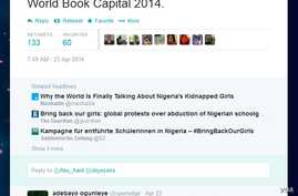 A screengrab of Ibrahim Abdullahi's tweet, which first used #BringBackOurGirls.