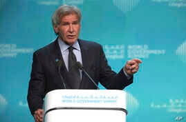 American actor Harrison Ford speaks about ocean conservation at the World Government Summit in Dubai, United Arab Emirates, Tuesday, Feb. 12, 2019. Ford offered an emphatic plea for protecting the world's oceans while calling out U.S. President Donal