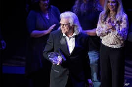 Ricky Skaggs leaves the stage after receiving The Founders Award at the 54th Annual ASCAP Country Music Awards at the Ryman Auditorium, Oct. 31, 2016, in Nashville, Tenn.