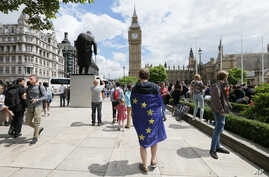 A demonstrator wrapped in the EU flag takes part in a protest opposing Britain's exit from the European Union in Parliament Square following yesterday's EU referendum result, London, Saturday, June 25, 2016.
