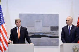 Secretary of State John Kerry, left, speaks at a news conference with Albanian Prime Minister Edi Rama in capital Tirana, Feb. 14, 2016.