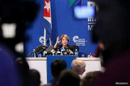 U.N. Special Rapporteur Maria Grazia Giammarinaro speaks during a news conference in Havana, Cuba, April 14, 2017.