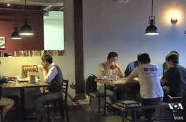 Customers at the GameHäus Café in Los Angeles.