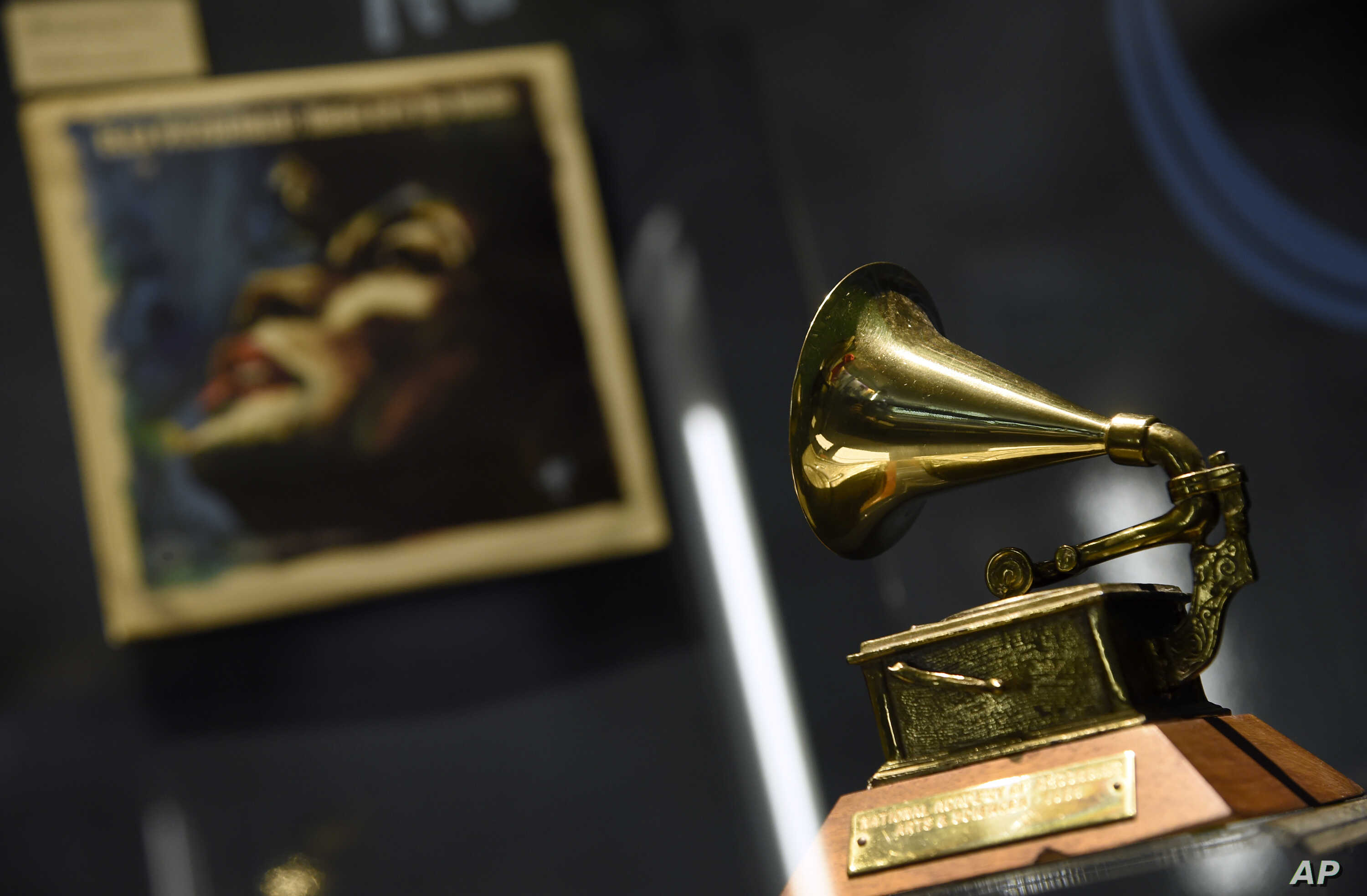 """Ella Fitzgerald's Grammy for best female vocal performance, awarded in 1958, is displayed at a sneak preview of """"Ella at 100: Celebrating the Artistry of Ella Fitzgerald"""" at The Grammy Museum at L.A. Live on Monday, April 24, 2017, in Los Angeles."""