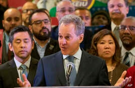 FILE - In this April 3, 2018 file photo, New York Attorney General Eric Schneiderman speaks during a news conference in New York.