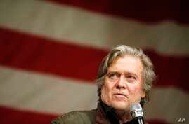 Former White House strategist Steve Bannon U.S. speaks during a Senate hopeful Roy Moore campaign rally, Dec. 5, 2017, in Fairhope Ala.