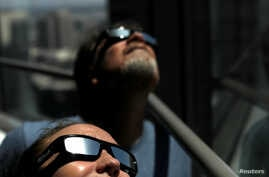 Solar eclipse sunglasses are pictured in Los Angeles, Aug. 8, 2017.