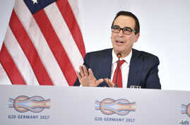 U.S. Treasury Secretary Steven Mnuchin speaks at a news conference during the G20 finance ministers meeting in Baden-Baden, southern Germany, March 17, 2017.
