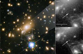 NASA's Hubble Space Telescope image of a blue supergiant star the Icarus, the farthest individual star ever seen, is shown in this image released April 2, 2018. The panels at the right show the view in 2011, without Icarus visible, compared with the