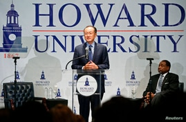 World Bank President Jim Yong Kim delivers remarks at Howard University's School of Business in Washington, Oct. 1, 2014.
