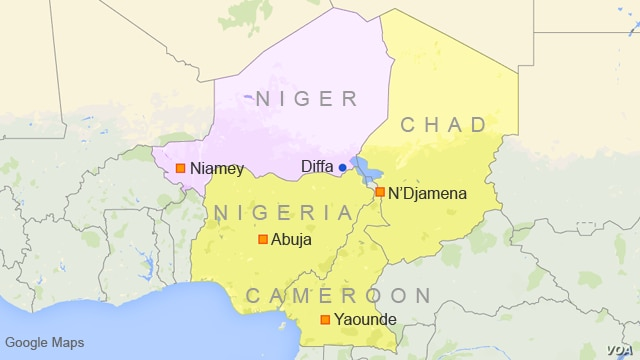 Map showing Diffa, Niger, and surrounding countries