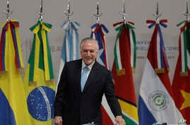 FILE - Brazil's President Michel Temer attends the opening ceremony of the World Trade Organization Ministerial Conference in Buenos Aires, Argentina, Dec. 10, 2017.