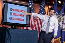 House Speaker Paul Ryan of Wisconsin uses charts and graphs to make his case for the Republican Party's long-awaited plan to repeal and replace the Affordable Care Act, during a news conference on Capitol Hill in Washington, March 9, 2017.