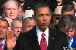 President Obama taking the oath of office