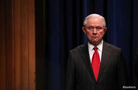 U.S. Attorney General Jeff Sessions attends a news conference on the arrest of a suspect in the sending of at least a dozen parcel bombs to Democratic politicians and high-profile critics of President Trump.
