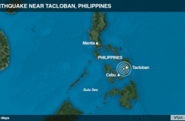 Epicenter of the earthquake in the Philippines