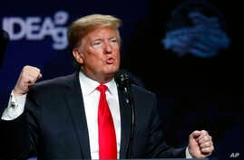President Donald Trump speaks at the American Farm Bureau Federation convention in New Orleans, Jan. 14, 2019.