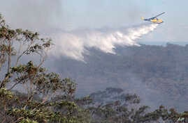 A helicopter drops water on bush land in Faulcombridge, 85 kilometers (53 miles) west of Sydney, Australia, Oct. 24, 2013.