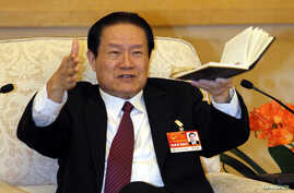 Chinese former Politburo Standing Committee Member Zhou Yongkang gestures as he speaks at a group discussion of Shaanxi Province during the National People's Congress at the Great Hall of the People in Beijing, in this picture taken March 12, 2011.