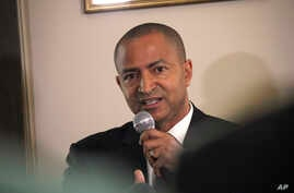 Congolese opposition leader, Moise Katumbi, speaks during a press conference at his lawyer's office in Paris, June 16, 2017. Katumbi, said he will return imminently to run against Kabila for president. Katumbi fled Congo last year as prosecutors anno...