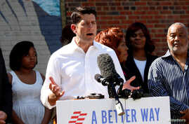 Speaker of the House Paul Ryan talks to reporters during an event to discuss the Republican Party's anti-poverty plan in Washington, D.C., June 7, 2016.