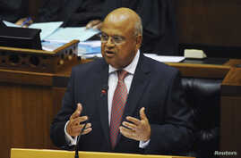 South African Finance Minister Pravin Gordhan delivers his 2013 budget speech at Parliament in Cape Town, Feb. 27, 2013.