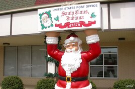 The post office in Santa Claus, Indiana, where Christmas carols are heard 12 months a year at the town hall, and many residents leave holiday decorations up all year. (santaclausind.org)