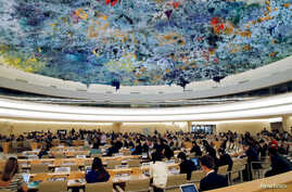 FILE - Overview of the Human Rights Council at the United Nations in Geneva, Switzerland, June 26 2018.