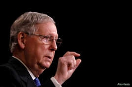 """FILE - U.S. Senate Majority Leader Mitch McConnell, R-Ky., speaks with reporters at the U.S. Capitol in Washington, April 7, 2017. """"We will now try a different way to bring the American people relief from Obamacare,"""" he said in announcing a plan to v"""