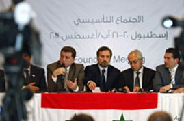 Members of Syrian oppositions (L-R) Ahmed Ramadan, Khaled Hassaleh, Hassan Hashmi, Lovay Safi, Abdul Basit Sida, Adip Shishakil, Hassan Shalabi attend a news conference after meeting in Istanbul August 23, 2011