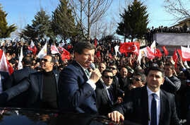 Turkish Prime Minister Ahmet Davutoglu speaks in Mardin, Turkey, Friday, Feb. 5, 2016.