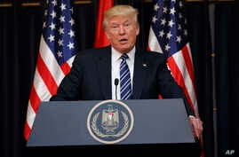 President Donald Trump makes a statement on the terrorist attack in Manchester after a meeting with Palestinian President Mahmoud Abbas, May 23, 2017, in the West Bank City of Bethlehem.
