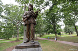 A statue of a Confederate soldier nicknamed Silent Sam stands on the campus of the University of North Carolina in Chapel Hill, N.C., Aug. 17, 2017.